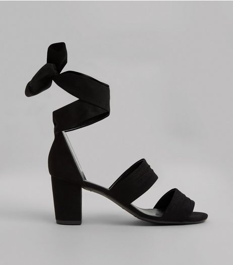 Teens Black Suedette Tie Up Ankle Strap Heels | New Look