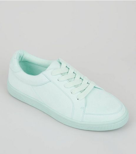 Teens Mint Green Suedette Lace Up Trainers | New Look