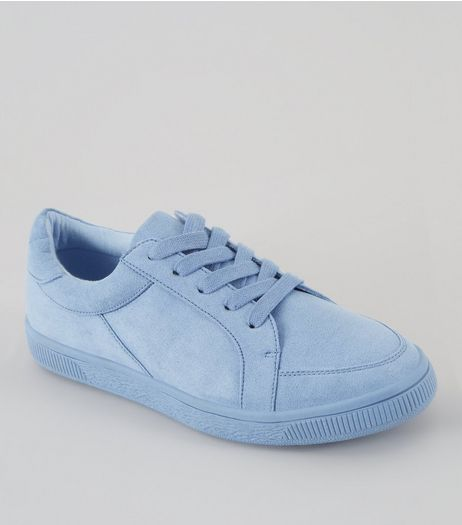 Teens Pale Blue Suedette Lace Up Trainers | New Look
