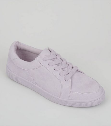 Teens Lilac Suedette Lace Up Trainers | New Look