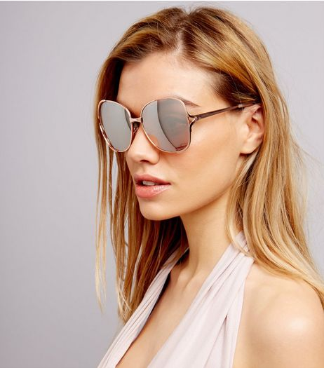 Rose Gold Oversized Cut Out Side Sunglasses | New Look