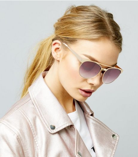 Gold Bar Top Sunglasses | New Look