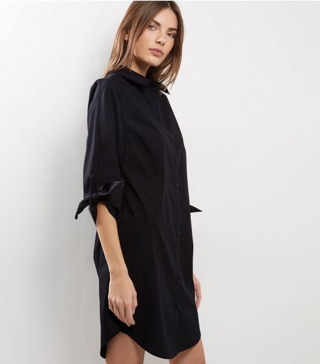 Black Tie Sleeve Shirt Dress | New Look
