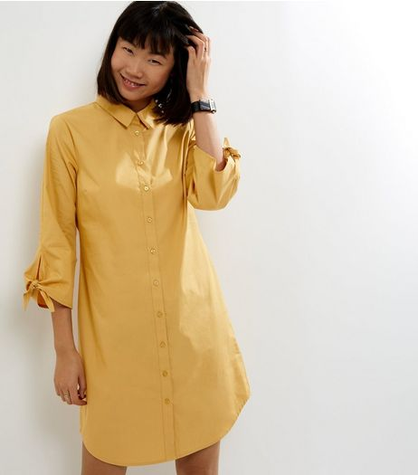 Yellow Tie Sleeve Shirt Dress | New Look