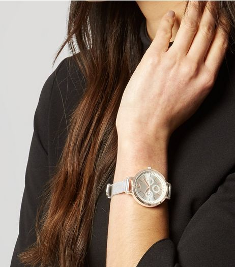 Silver Two Tone Mesh Strap Watch | New Look