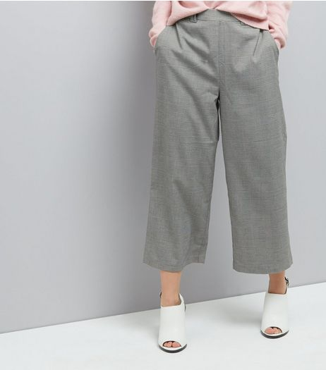 Black Check High Waist Cropped Trousers  | New Look