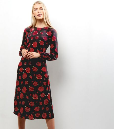 Black Floral Print Long Sleeve Midi Dress | New Look