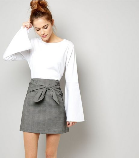 Black Bow Front Check Skirt  | New Look
