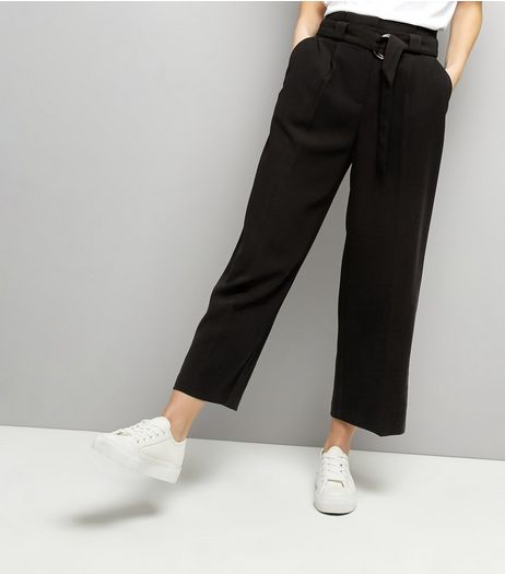 Black Hoop Belt Wide Leg Trousers | New Look