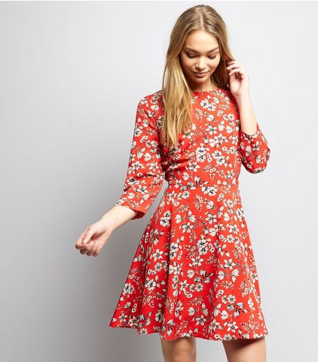 Red Floral Print Skater Dress | New Look