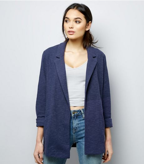 Navy Girlfriend Jersey Blazer  | New Look