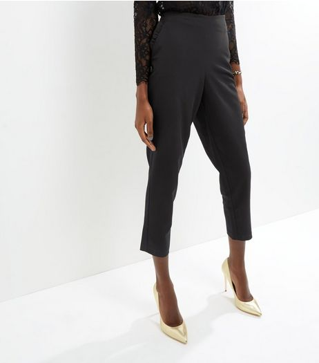 Black Frill Pocket Slim Leg Trousers | New Look