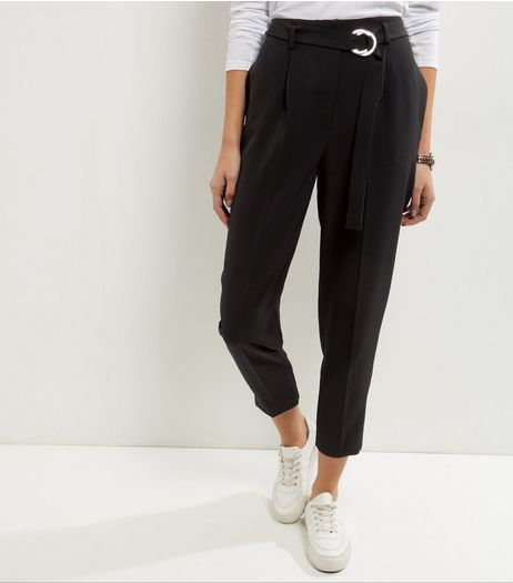 Black Metal D-Ring Belt Trousers | New Look