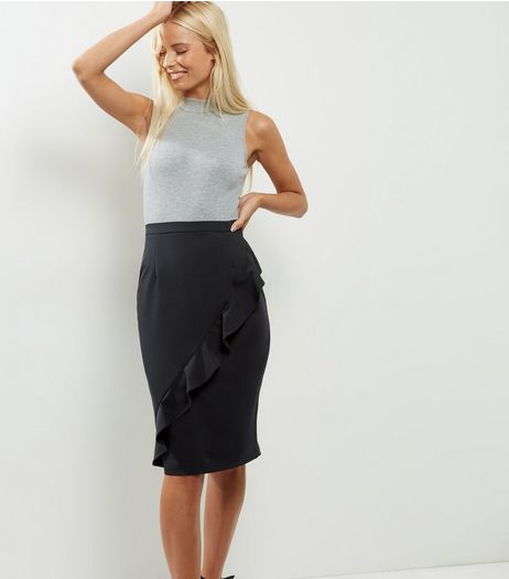 Black Frill Trim Pencil Skirt  | New Look