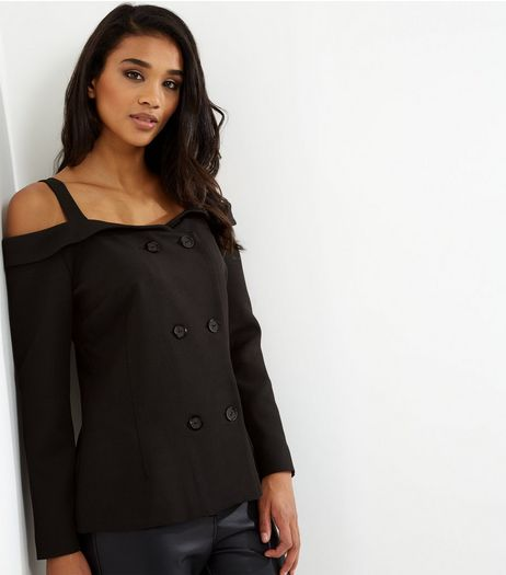 Black Cold Shoulder Button Front Long Sleeve Blazer  | New Look