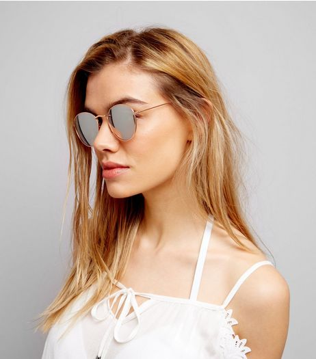 Rose Gold Round Sunglasses | New Look