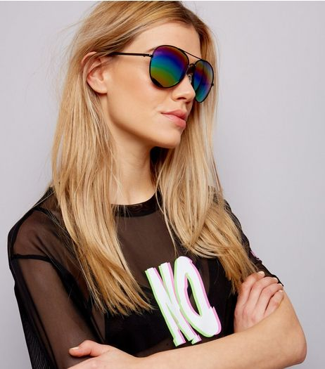Black Holographic Rainbow Lens Pilot Sunglasses | New Look