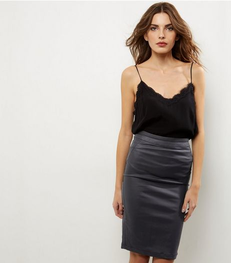 Black Coated Pencil Skirt | New Look