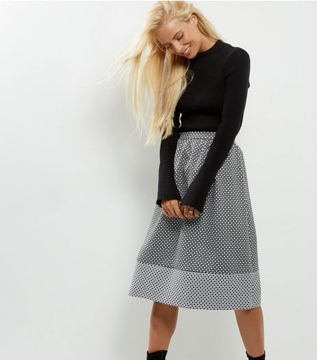 Black Abstrast Print Jaquard Midi Skater Skirt | New Look