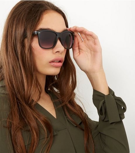 Black Retro Square Sunglasses | New Look