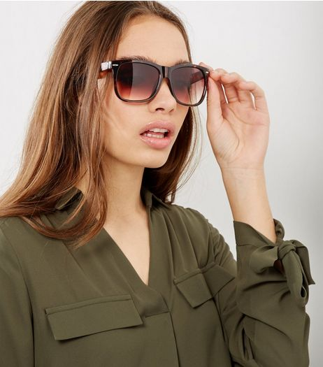 Brown Retro Square Sunglasses | New Look