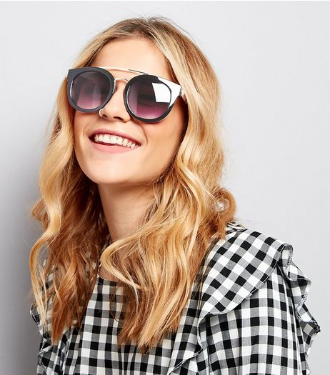 Black Double Metal Bar Sunglasses | New Look