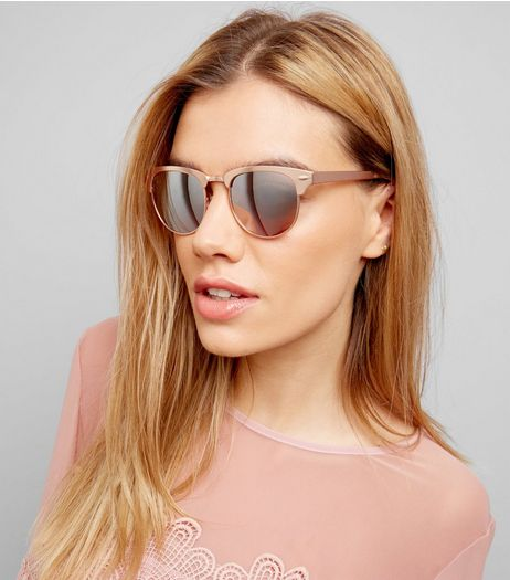 Rose Gold Retro Sunglasses | New Look