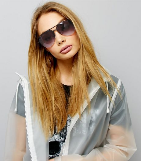 Black Ombre Pilot Sunglasses | New Look
