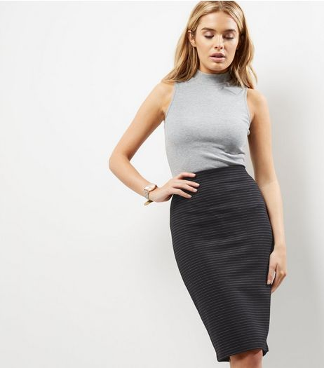 Black Pinstripe Print Midi Pencil Skirt  | New Look