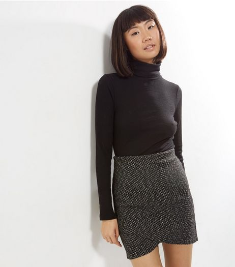 Black Wrap Front Woven Mini Skirt  | New Look