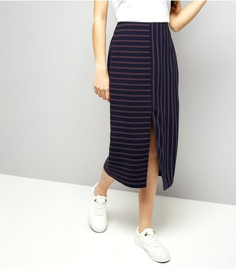 Blue Contrast Stripe Split Hem Midi Skirt | New Look