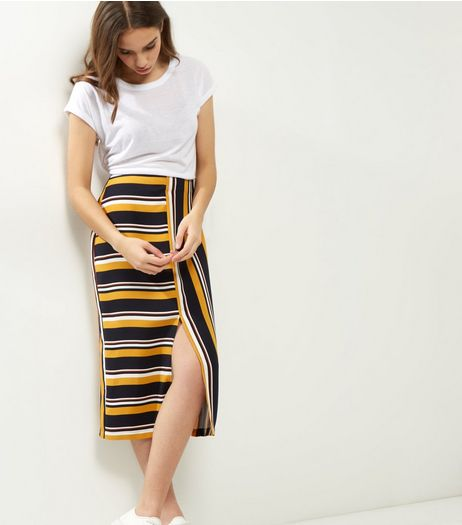Yellow Contrast Stripe Slim Fit Midi Skirt  | New Look