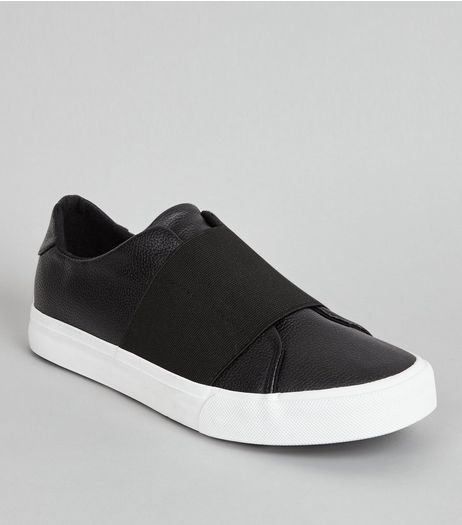 Black Elasticated Strap Trainers | New Look