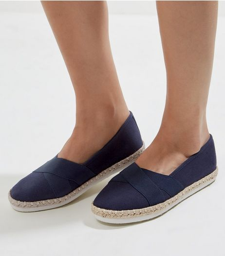 Navy Elasticated Top Espadrilles | New Look