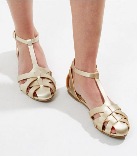 Gold Metallic Cage Strap Sandals | New Look