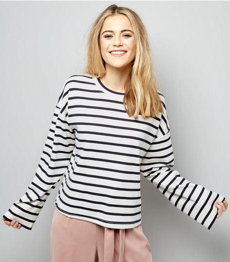 White Stripe Wide Sleeve Sweater  | New Look