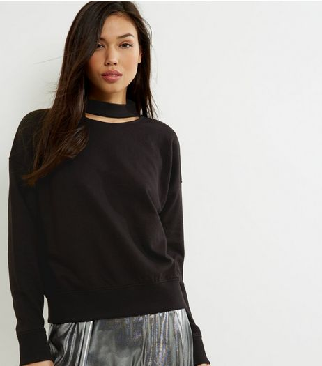 Black Choker Neck Cut Out Sweater  | New Look