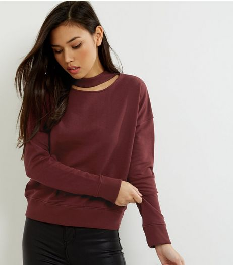 Burgundy Choker Neck Cut Out Sweater | New Look