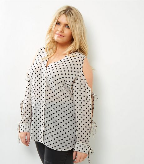 Curves White Spot Print Cold Shoulder Shirt | New Look