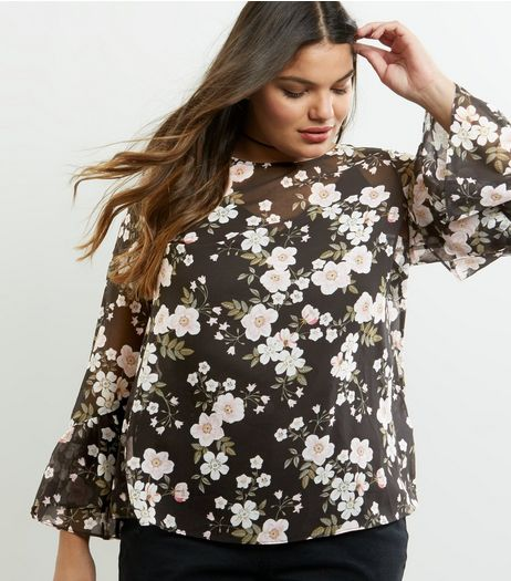 Curves Black Chiffon Floral Print Bell Sleeve Top  | New Look