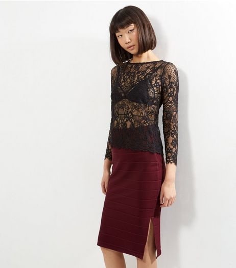 Burgundy Bandage Pencil Skirt | New Look