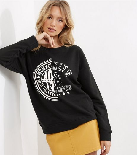 Black Spliced Logo Print Long Sleeve Sweater  | New Look