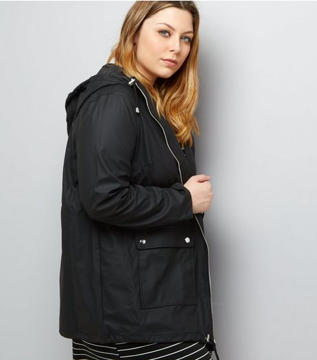 Curves Black Matte Rain Coat | New Look