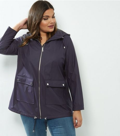 Curves Navy Matte Rain Coat | New Look