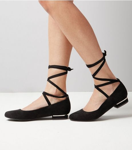 Black Lace Up Ankle Tie Ballet Shoes  | New Look