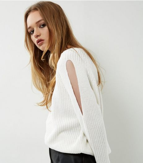 Cameo Rose White Cut Out Sleeve Jumper | New Look