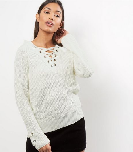 Cameo Rose Cream Lattice Front Eyelet Jumper | New Look