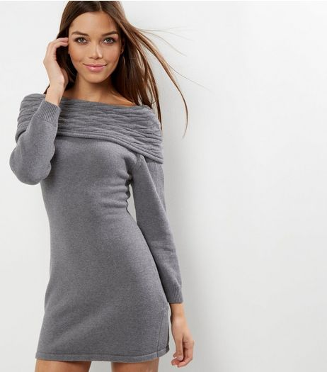 Cameo Rose Grey Cable Knit Bardot Neck Dress | New Look