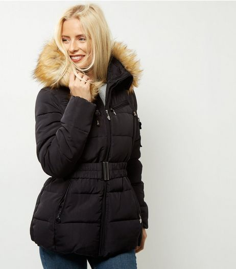Cameo Rose Black Belted Faux Fur Trim Puffer Jacket | New Look