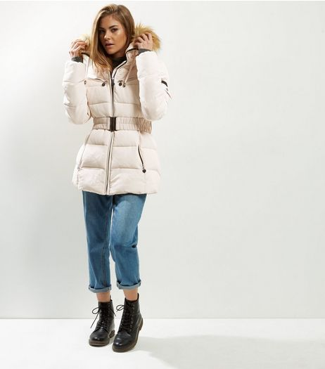Cameo Rose Cream Belted Faux Fur Trim Puffer Jacket | New Look